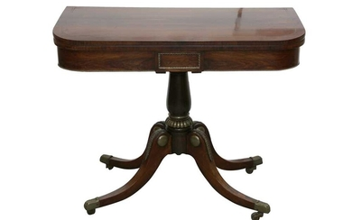 A REGENCY ROSEWOOD AND BRASS STRUNG FOLD OVER CARD TABLE