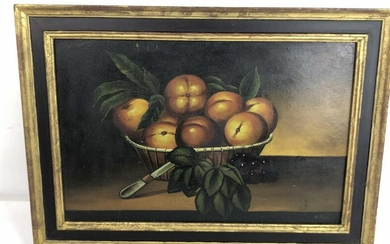 A Still LIfe of Fruit in Basket Signed R. Peale Sight