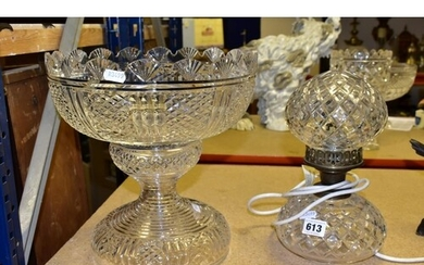 A WATERFORD CRYSTAL PEDESTAL PUNCH BOWL AND TABLE LAMP consi...