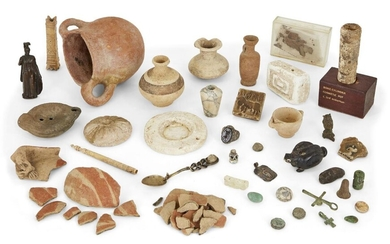 A group of Antiquities and objects after the antique including a Middle Bronze Age Cypriot pot circa 2000-1600BC, a fragmentary ??? pot and figure; a bonze of Victory Provenance: The Cypriot pot ex-Leto Severis collection; the fragmentary pot...