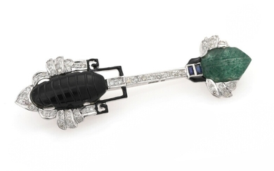 NOT SOLD. A jade, onyx and diamond brooch set with carved jade and onyx, numerous...