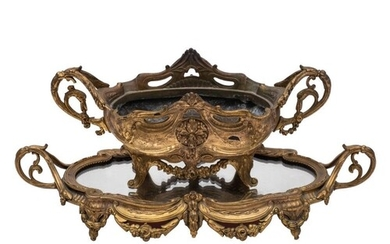 A late 19th century gilt metal basket: of oval outline, with...