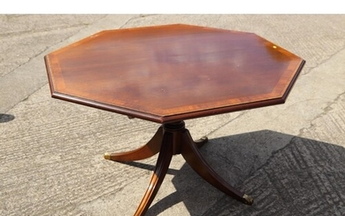 A mahogany and banded octagonal tilt top dining table, on tu...