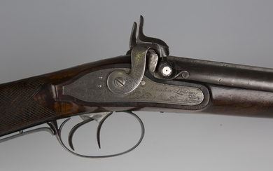 A mid-19th century double-barrelled percussion sporting gun by Manton, London, barrel length 79cm, t