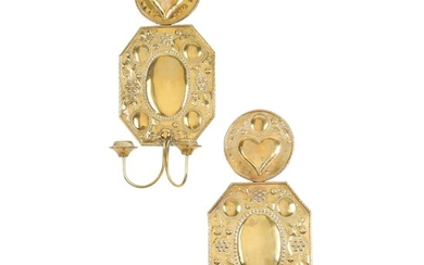 NOT SOLD. A pair of Baroque style brass wall sconces, decorated with heart and fruit. C. 1900. H. 48 cm. (2) – Bruun Rasmussen Auctioneers of Fine Art