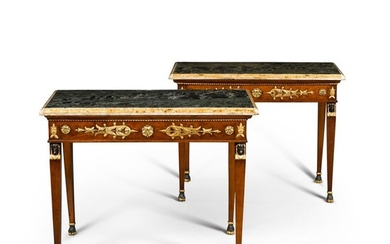 A pair of Italian gilt-metal mounted, parcel-gilt and walnut console tables, circa 1820