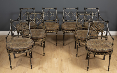 A set of eight Regency style dining chairs