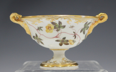 A small English porcelain two-handled footed bowl, probably Spode, early 19th century, of circular s