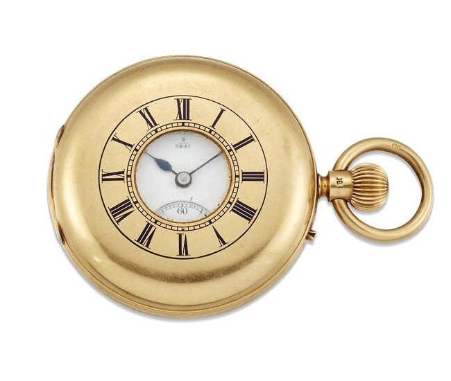 An 18ct gold demi-hunter case pocket watch, the white enamel dial with Roman numerals and subsidiary seconds signed Barraud & Lunds London and numbered 3 3841, glass deficient, the lever movement with repeat signature and number, also stamped 49...