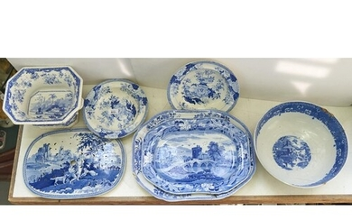 An English pottery pearlware bowl, printed in blue and white...