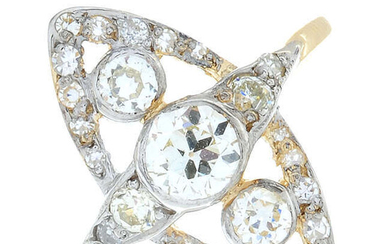An old-cut diamond marquise-shape cluster ring.