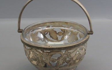 Antique Small Silver Coated Bonbon Basket