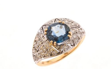 RING in yellow and white gold 750/°°° decorated in its...