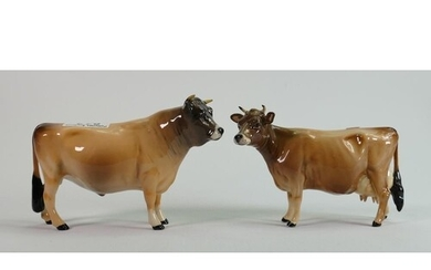Beswick Jersey Cow 1345 and Bull 1422 (2)