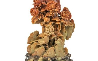 Chinese Carved Soapstone Birds and Peony Sculpture
