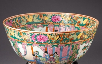 Chinese Porcelain 'Bird and Butterfly' Punch Bowl.