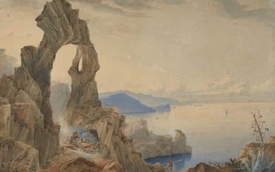 Circle of Thomas Charles Leeson Rowbotham, R.W.S., British 1823-1875- View of the Natural Arch at Capri, with a shepherd and his flock; pencil and watercolour heightened with gum arabic on paper, bears added signature 'J. H. L. Meijer' (lower...