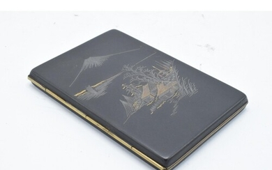 Early 20th century Japanese cigarette case with silver and 2...