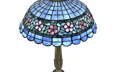 Early American Art Glass Foil Shade Lamp, Blue with Red