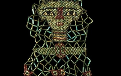 Egyptian Bead Mummy Mask with Sons of Horus