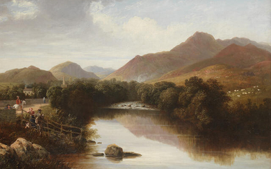 English School 19th Century A fisherman and other figures by a river bank before a mountainous landscape