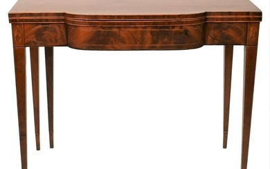 Federal Mahogany Game Table having panel inlays set on
