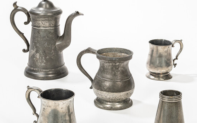 Five Pieces of Pewter Tableware