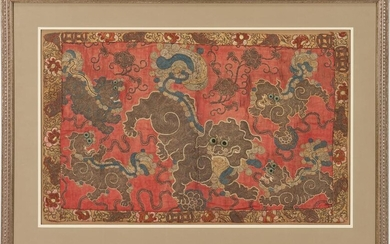 Framed Chinese Embroidered Textile of Temple Lions or