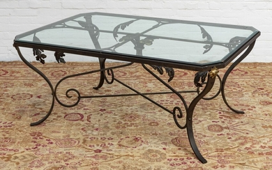 """GLASS TOP AND WROUGHT IRON TABLE H 49.25"""" W 77.75"""" L 105.75"""""""