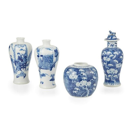 GROUP OF FOUR BLUE AND WHITE WARES QING DYNASTY, 19TH