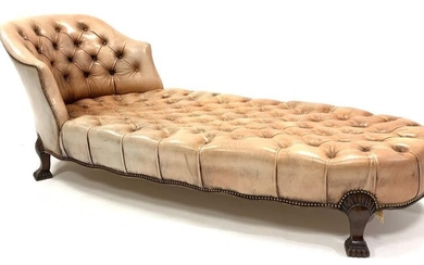 Georgian style chaise longue, with tub shaped raised back...