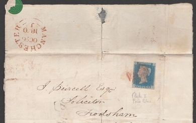 Great Britain, 1840 2d Pale Blue (SG6) (EH), 4 margin, tied ...