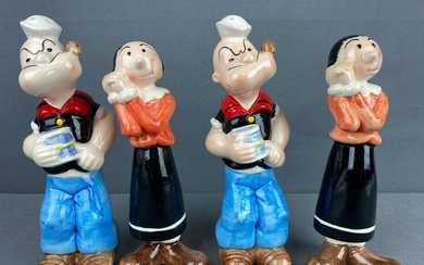 Group of 4 Popeye and Olive Oyl Salt and Pepper Shakers