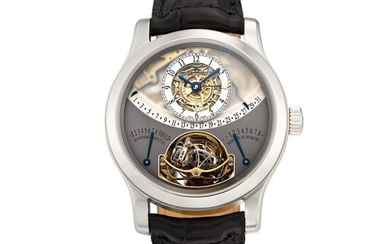 Gyrotourbillon 1, Reference 600.64.20 | A limited edition platinum semi-skeletonized perpetual calendar multi-axis spherical tourbillon wristwatch with 8 days power reserve, equation of time, retrograde date, month and leap year indication, Circa 2007...