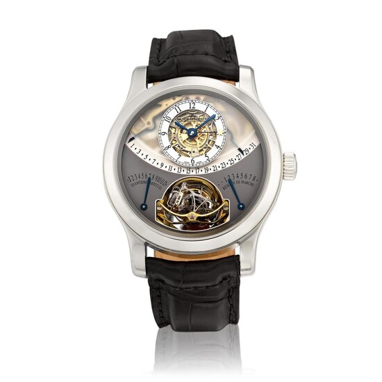 Gyrotourbillon 1, Reference 600.64.20   A limited edition platinum semi-skeletonized perpetual calendar multi-axis spherical tourbillon wristwatch with 8 days power reserve, equation of time, retrograde date, month and leap year indication, Circa 2007...