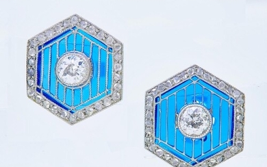 HEXAGONAL PAIR OF DIAMOND AND PLIQUE A JOUR EARRINGS, of ope...