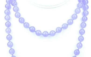 Hand Knotted 10MM Lavender Jade Necklace