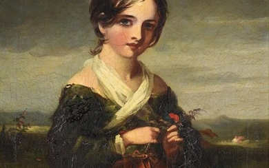 J. P Drew (British fl.1835-1861), 'A country girl wearing a red dress'