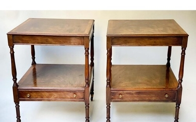 LAMP TABLES, a pair, George III style, flame mahogany, each ...