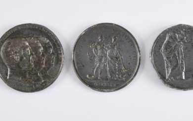 MATRICES FOR MEDALS.Set of seven pewter medal dies, representing the profiles of King Louis XVI, Queen Marie Antoinette, Madame Elizabeth, J. Baptiste Cant, Napoleon on his deathbed in St. Helena; in memory of the death of the Duc de Berry; of the...