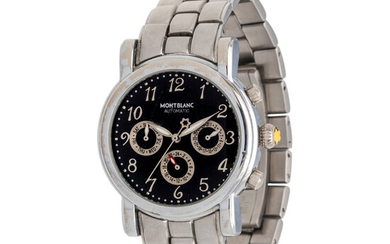MONTBLANC, 18K WHITE GOLD AND STAINLESS STEEL REF. 4810 CHRONOGRAPH 'MEISTERSTUCK' WRISTWATCH