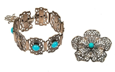 Middle Eastern Silverplate Turquoise Jewelry Lot