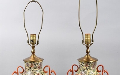 PAIR OF CHINESE PORCELAIN HU-FORM JARS WITH FAMILLE ROSE DECORATION, NOW MOUNTED AS TABLE LAMPS