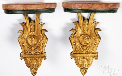 Pair of gilt bronze and marble wall shelves