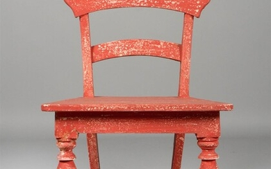 RED PAINTED CHILD'S CHAIR