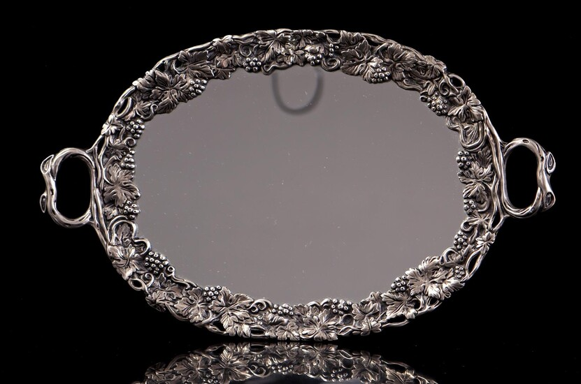 (-), Serving tray with mirror, base, marked Godinger...