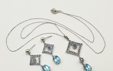 Set of 14K White Gold Sapphire Drop Earrings and Necklace. M...