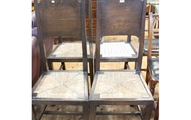 Set of four oak Arts & Crafts dining chairs in the manner of...