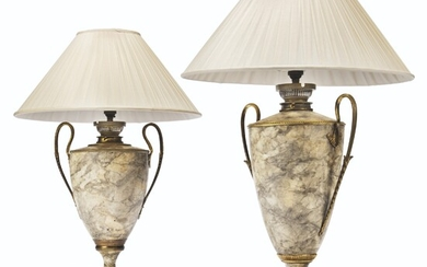 TWO FRENCH MARBELISED-TOLE TABLE LAMPS