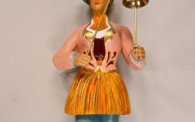 Tall Organ Statue of a Woman with a Bell